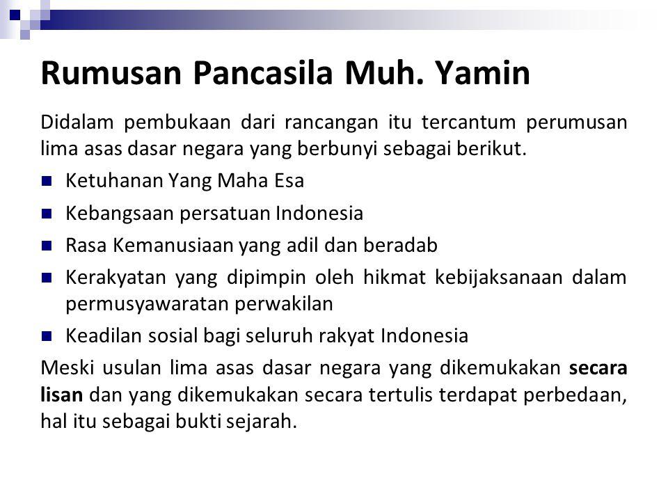 Rumusan Pancasila Muh. Yamin