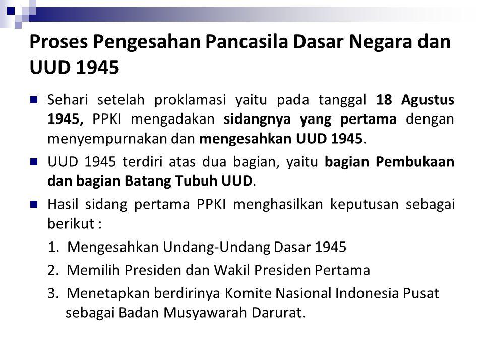 Proses Pengesahan Pancasila Dasar Negara dan UUD 1945