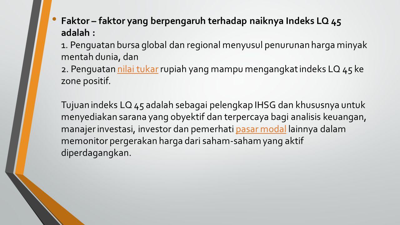 Faktor – faktor yang berpengaruh terhadap naiknya Indeks LQ 45 adalah : 1.