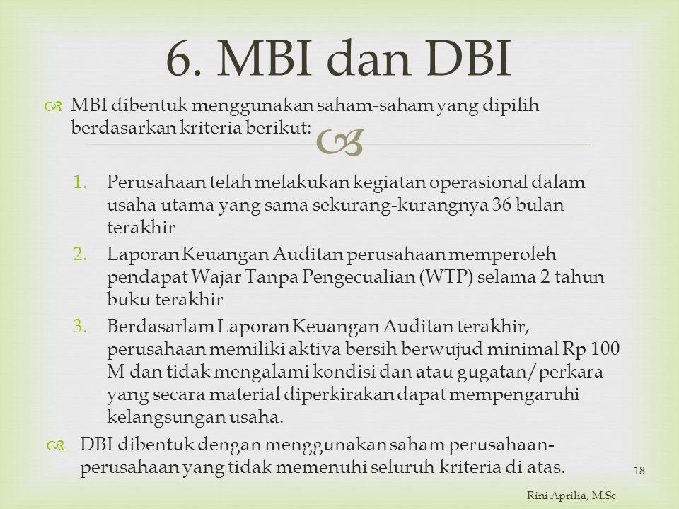 6. MBI dan DBI MBI dibentuk menggunakan saham-saham yang dipilih berdasarkan kriteria berikut: