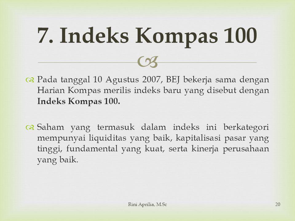 7. Indeks Kompas 100 Pada tanggal 10 Agustus 2007, BEJ bekerja sama dengan Harian Kompas merilis indeks baru yang disebut dengan Indeks Kompas 100.