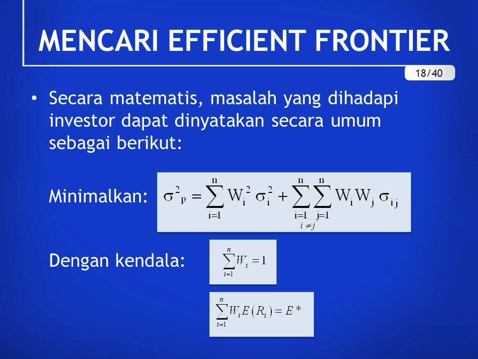 MENCARI EFFICIENT FRONTIER