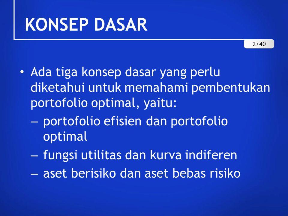 KONSEP DASAR 2/40. Ada tiga konsep dasar yang perlu diketahui untuk memahami pembentukan portofolio optimal, yaitu: