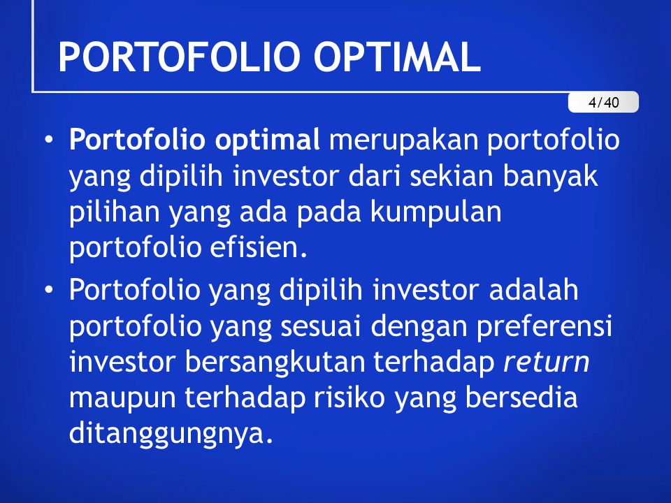 PORTOFOLIO OPTIMAL 4/40.