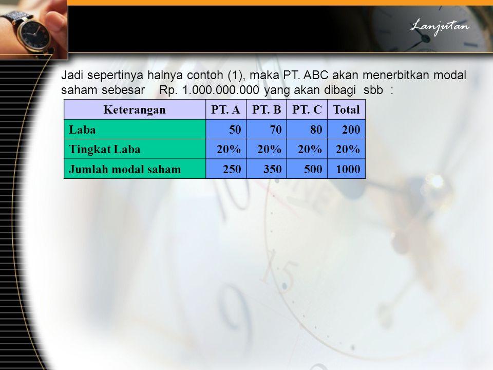 Lanjutan Jadi sepertinya halnya contoh (1), maka PT. ABC akan menerbitkan modal saham sebesar Rp. 1.000.000.000 yang akan dibagi sbb :