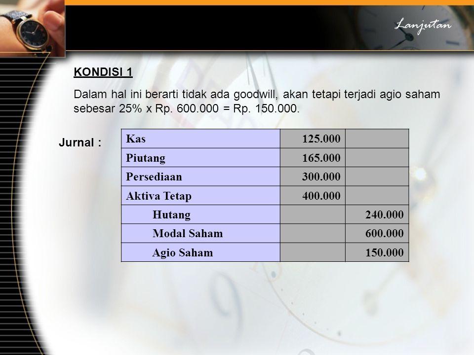 Lanjutan KONDISI 1. Dalam hal ini berarti tidak ada goodwill, akan tetapi terjadi agio saham sebesar 25% x Rp. 600.000 = Rp. 150.000.