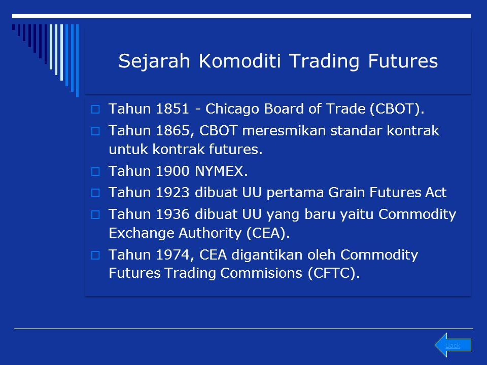 Sejarah Komoditi Trading Futures