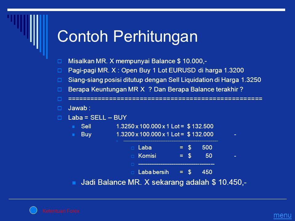 Contoh Perhitungan Jadi Balance MR. X sekarang adalah $ 10.450,- menu