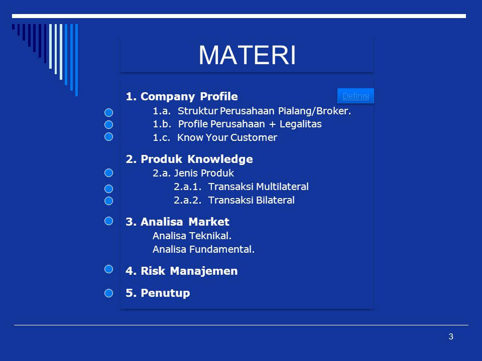 MATERI 1. Company Profile 2. Produk Knowledge 3. Analisa Market