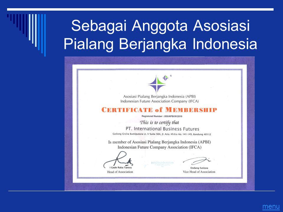Sebagai Anggota Asosiasi Pialang Berjangka Indonesia