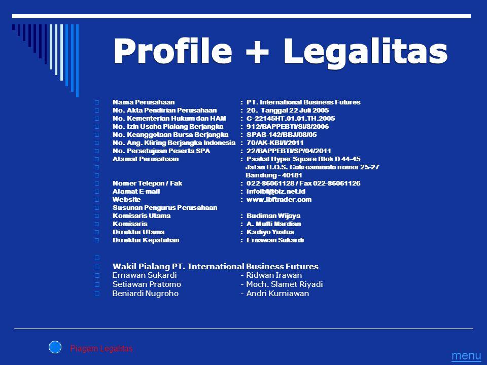 Profile + Legalitas menu Piagam Legalitas