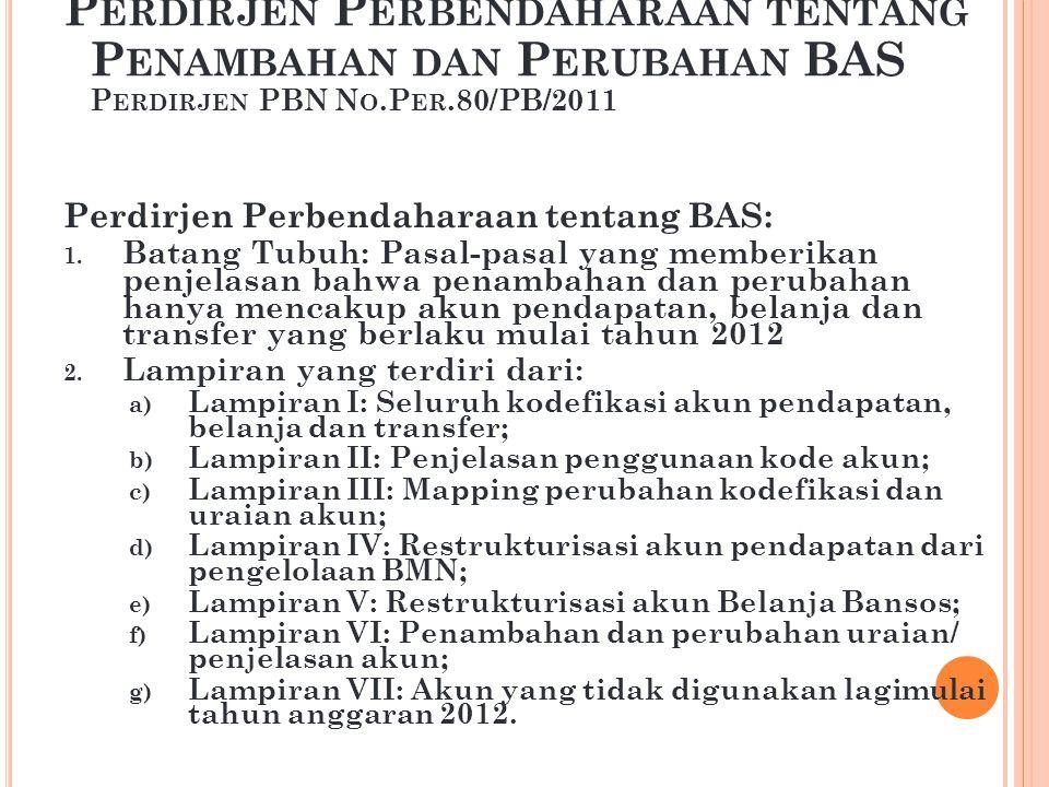 Perdirjen Perbendaharaan tentang Penambahan dan Perubahan BAS Perdirjen PBN No.Per.80/PB/2011