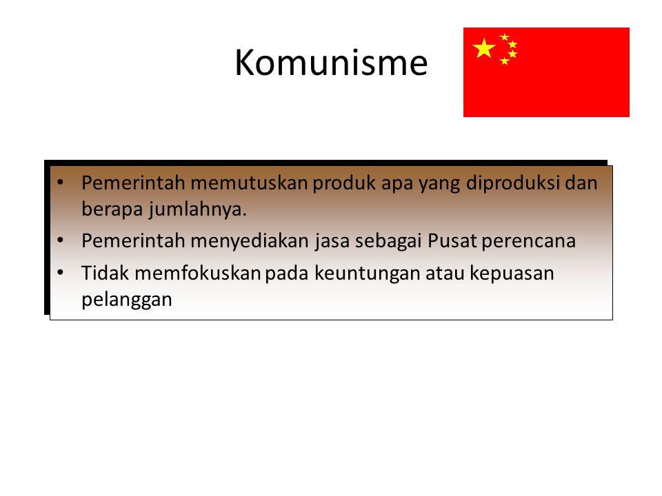 Komunisme Pemerintah memutuskan produk apa yang diproduksi dan berapa jumlahnya. Pemerintah menyediakan jasa sebagai Pusat perencana.