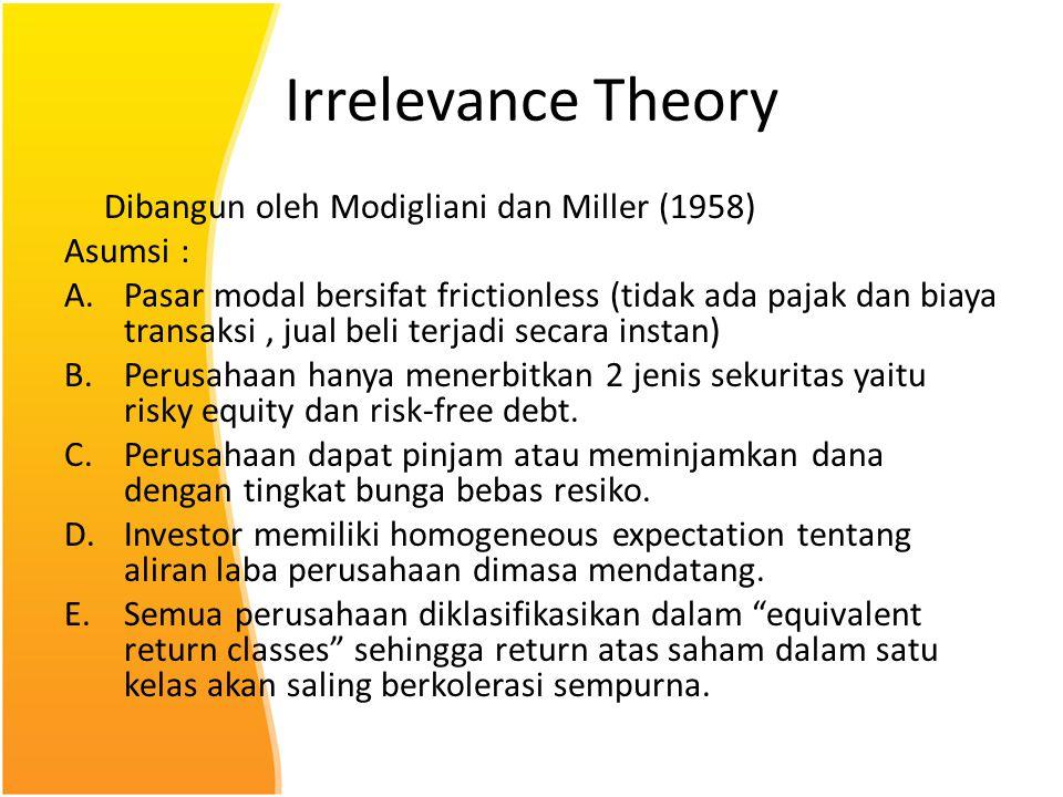 Irrelevance Theory Dibangun oleh Modigliani dan Miller (1958) Asumsi :