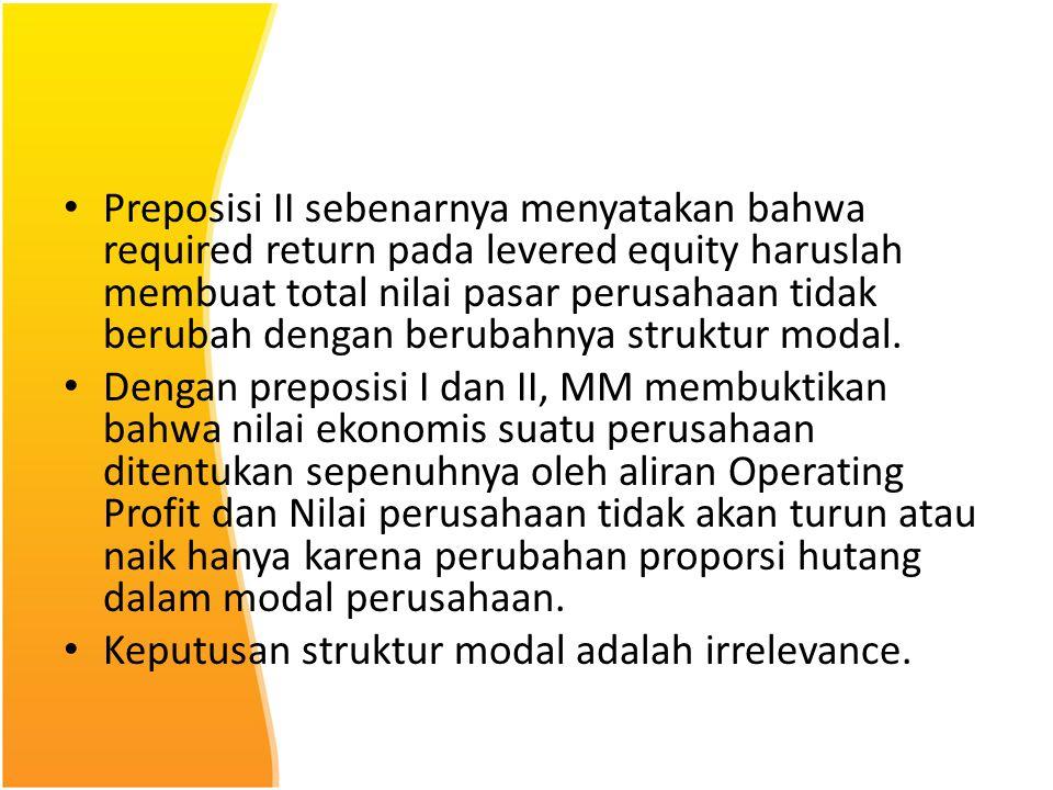 Preposisi II sebenarnya menyatakan bahwa required return pada levered equity haruslah membuat total nilai pasar perusahaan tidak berubah dengan berubahnya struktur modal.