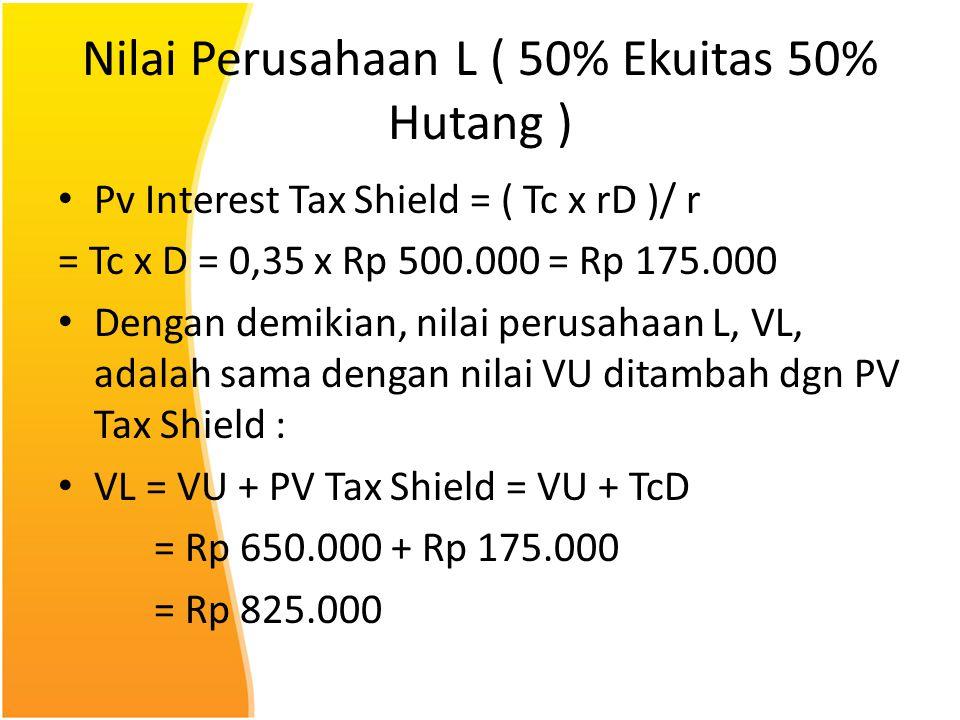 Nilai Perusahaan L ( 50% Ekuitas 50% Hutang )