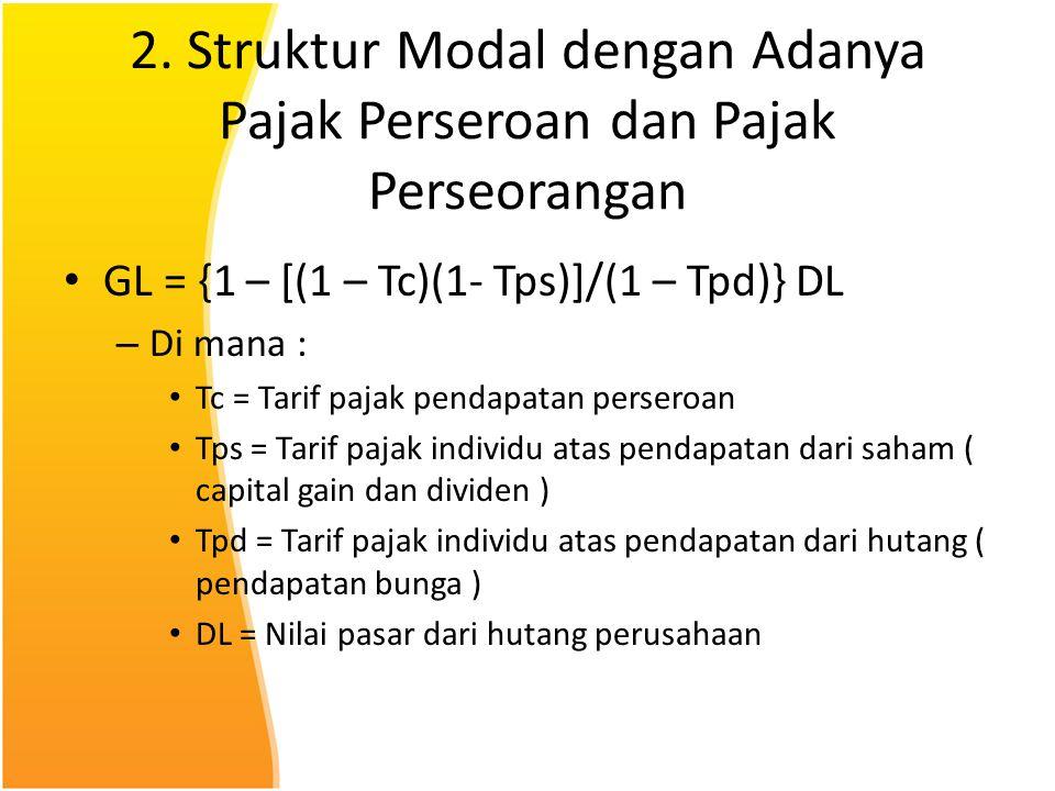 2. Struktur Modal dengan Adanya Pajak Perseroan dan Pajak Perseorangan