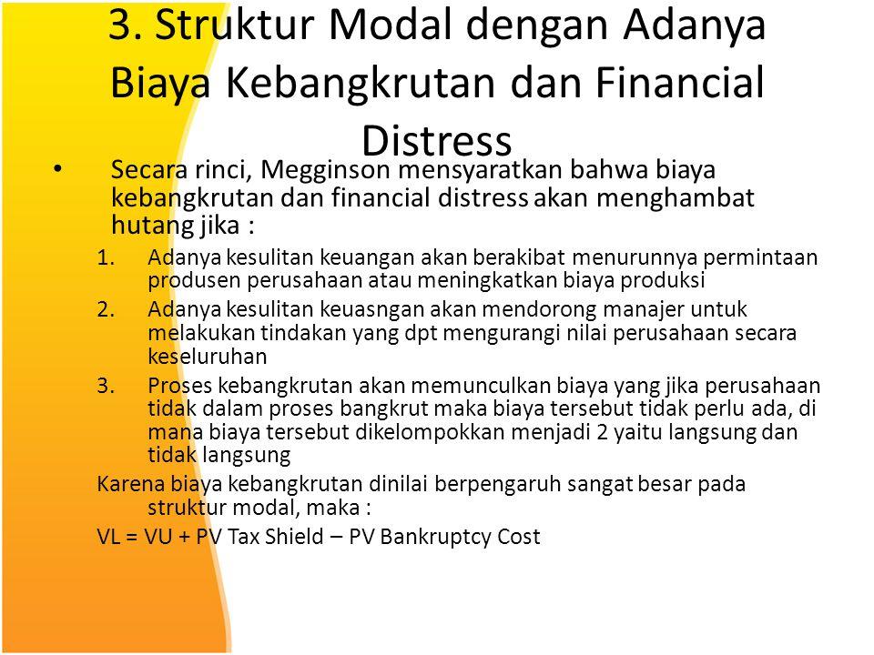 3. Struktur Modal dengan Adanya Biaya Kebangkrutan dan Financial Distress