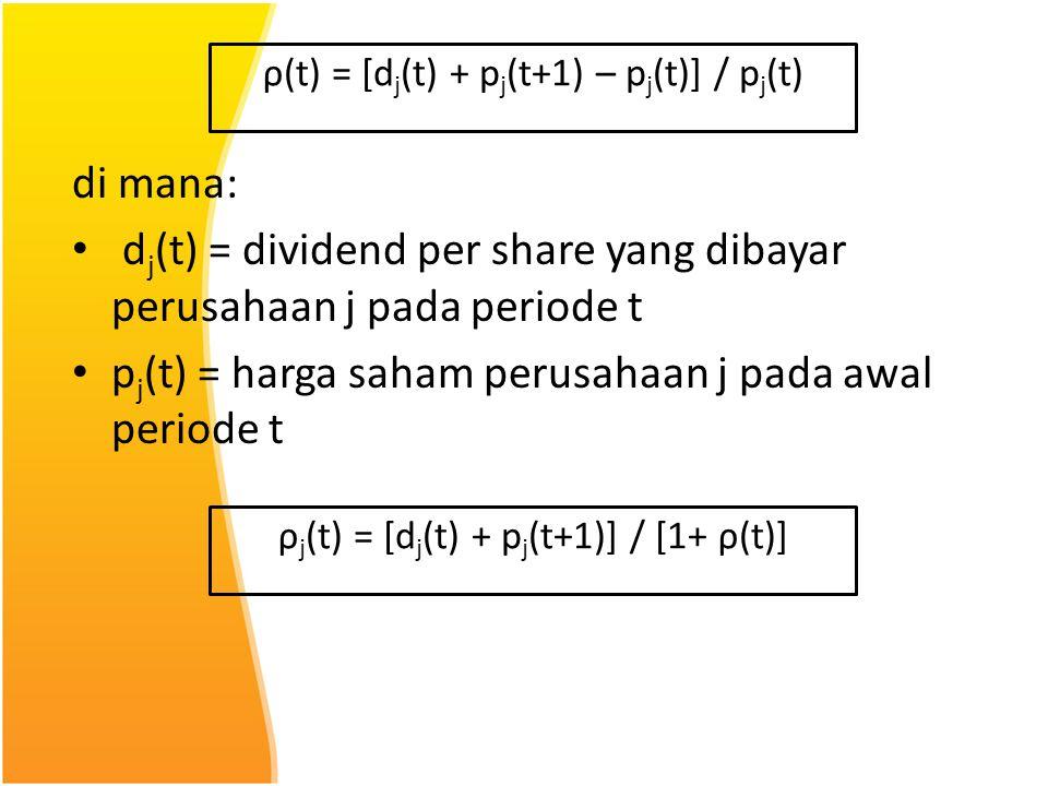 dj(t) = dividend per share yang dibayar perusahaan j pada periode t