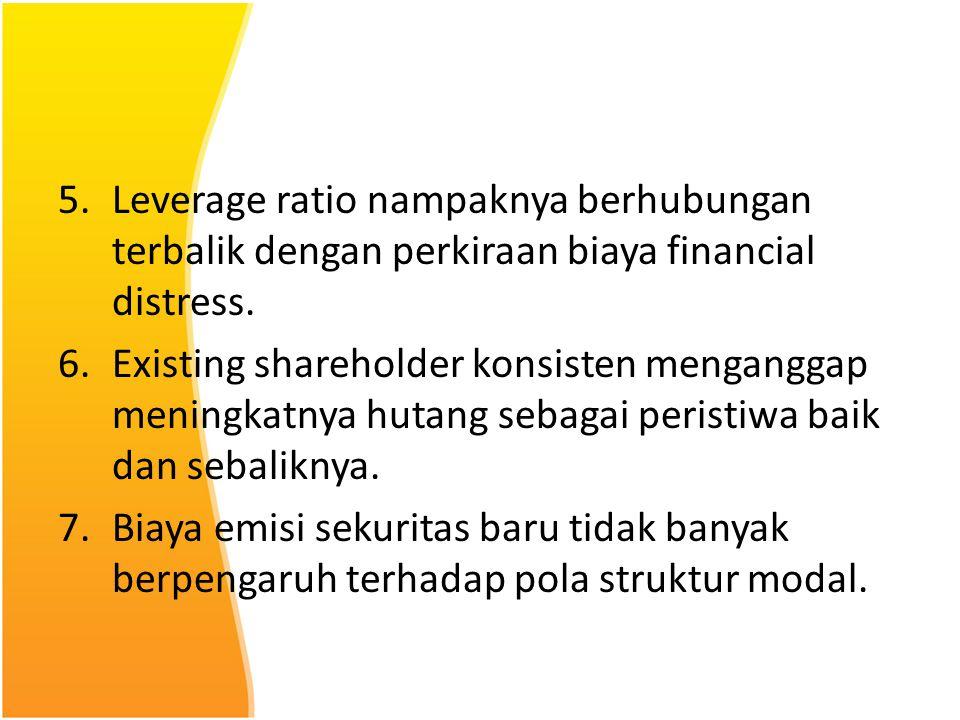 Leverage ratio nampaknya berhubungan terbalik dengan perkiraan biaya financial distress.