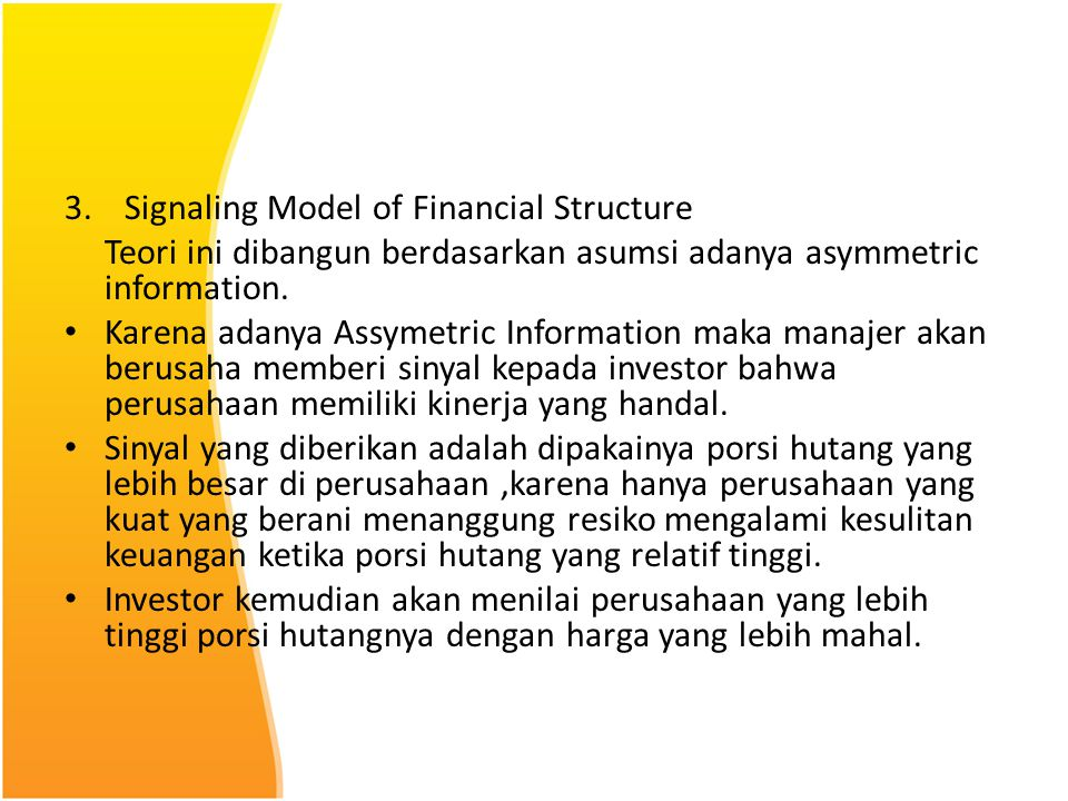 Signaling Model of Financial Structure