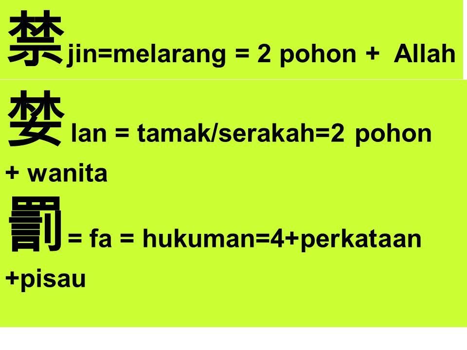 禁jin=melarang = 2 pohon + Allah 婪 lan = tamak/serakah=2 pohon