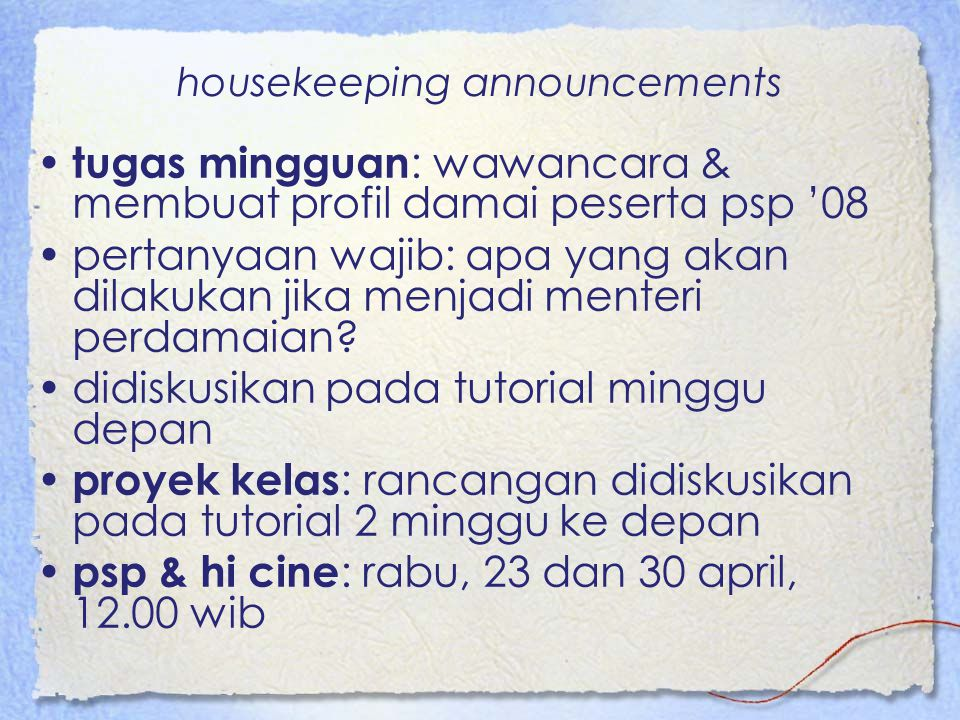 housekeeping announcements