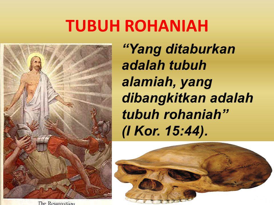 TUBUH ROHANIAH Yang ditaburkan adalah tubuh alamiah, yang dibangkitkan adalah tubuh rohaniah (I Kor.
