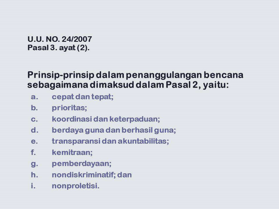 U.U. NO. 24/2007 Pasal 3. ayat (2). Prinsip-prinsip dalam penanggulangan bencana sebagaimana dimaksud dalam Pasal 2, yaitu: