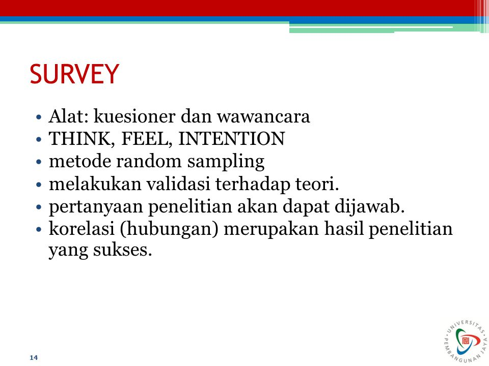SURVEY Alat: kuesioner dan wawancara THINK, FEEL, INTENTION