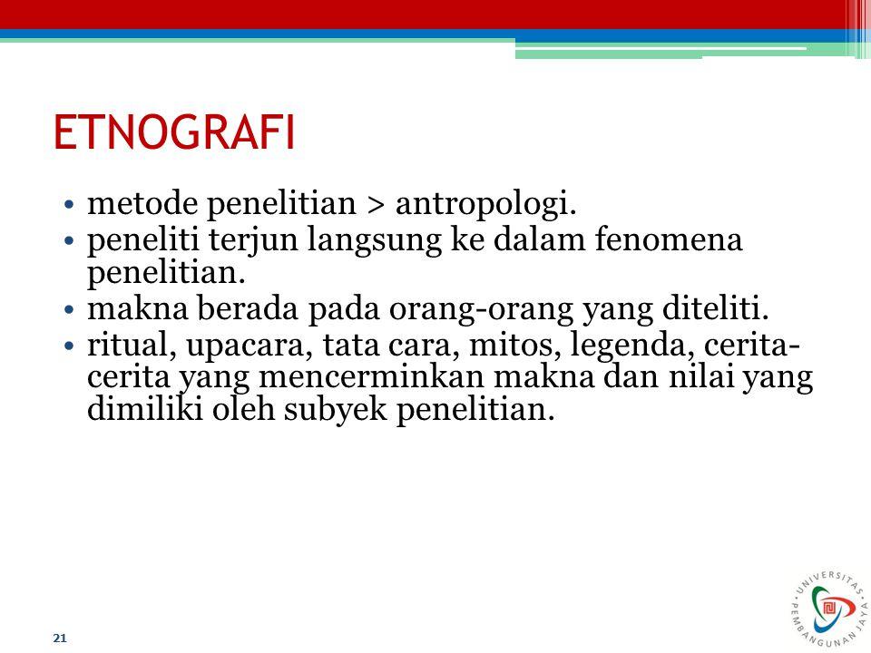 ETNOGRAFI metode penelitian > antropologi.
