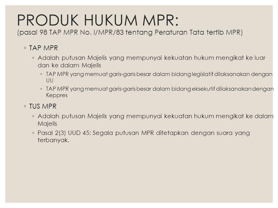 PRODUK HUKUM MPR: (pasal 98 TAP MPR No