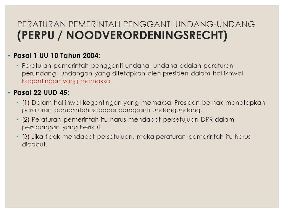 PERATURAN PEMERINTAH PENGGANTI UNDANG-UNDANG (PERPU / NOODVERORDENINGSRECHT)