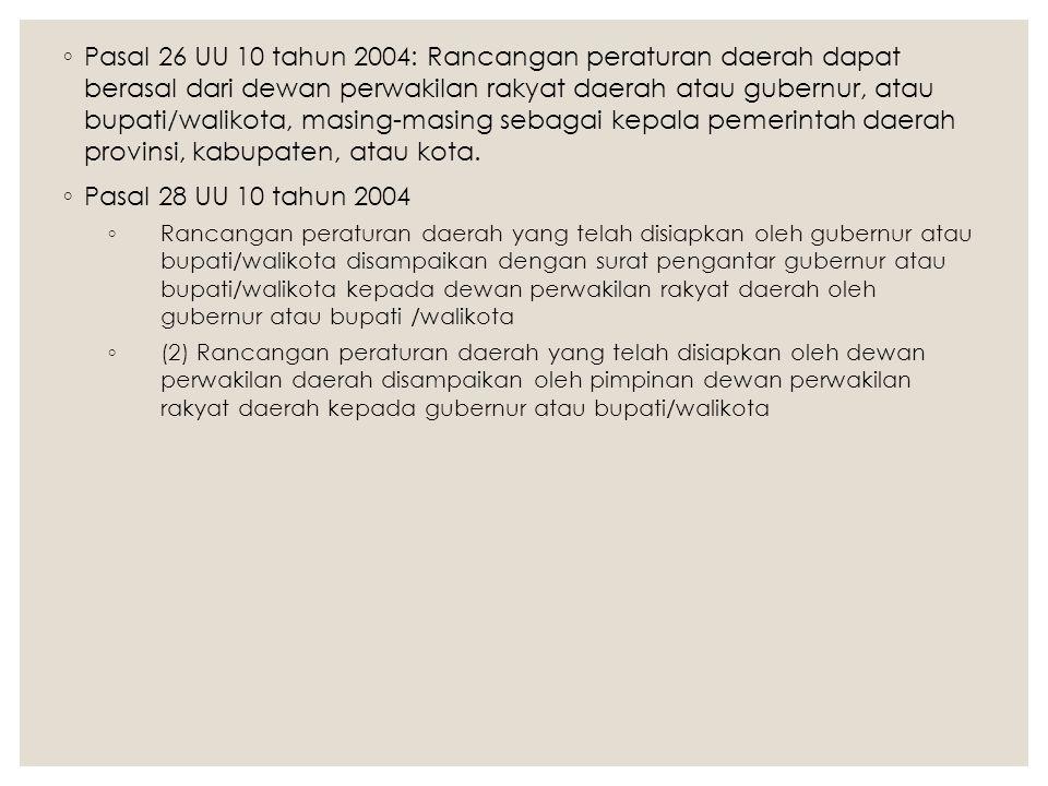 Pasal 26 UU 10 tahun 2004: Rancangan peraturan daerah dapat berasal dari dewan perwakilan rakyat daerah atau gubernur, atau bupati/walikota, masing-masing sebagai kepala pemerintah daerah provinsi, kabupaten, atau kota.