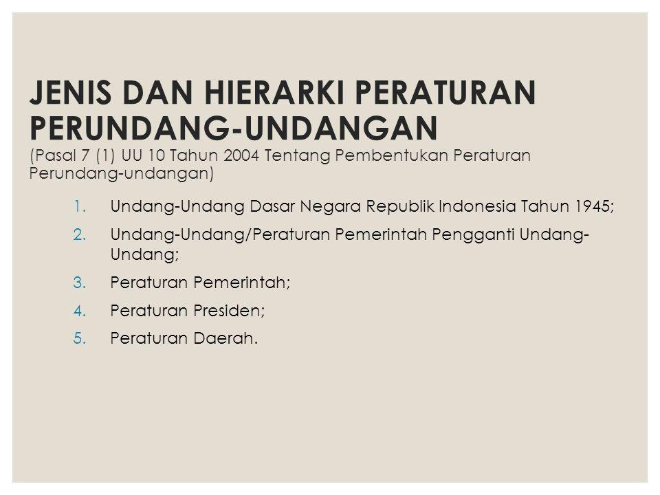 JENIS DAN HIERARKI PERATURAN PERUNDANG-UNDANGAN (Pasal 7 (1) UU 10 Tahun 2004 Tentang Pembentukan Peraturan Perundang-undangan)