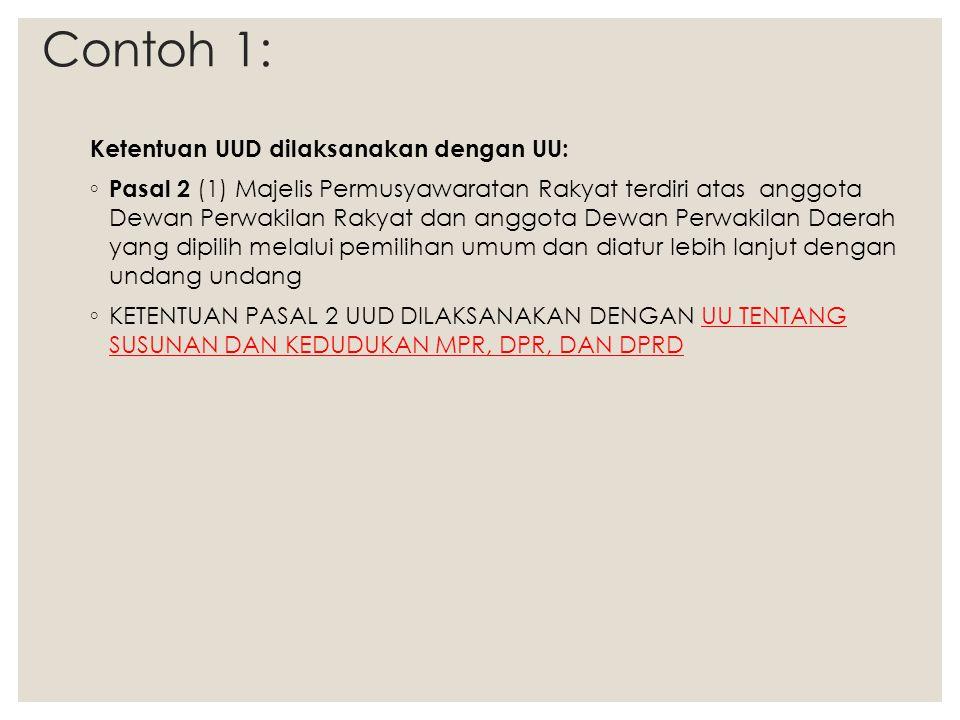 Contoh 1: Ketentuan UUD dilaksanakan dengan UU: