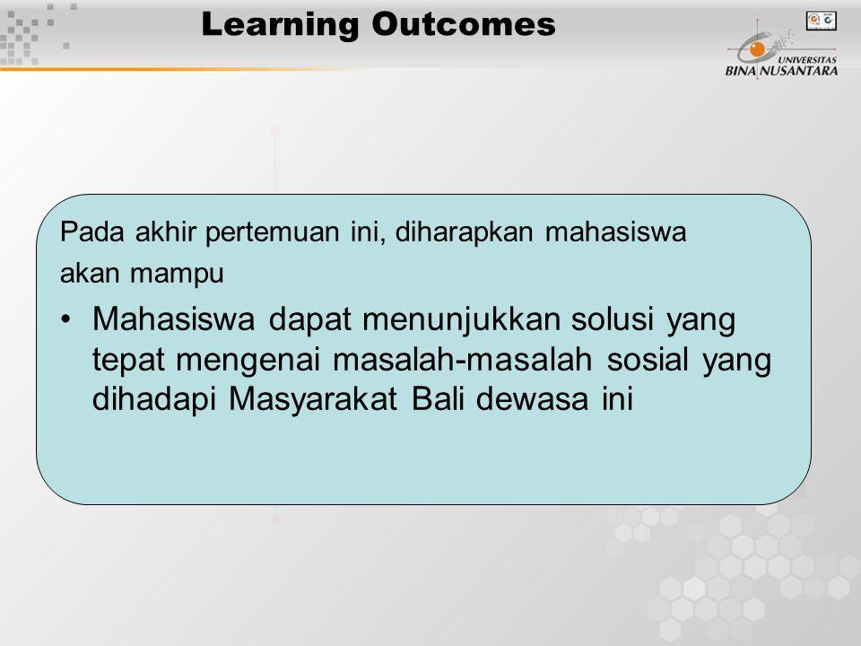 Learning Outcomes Pada akhir pertemuan ini, diharapkan mahasiswa. akan mampu.