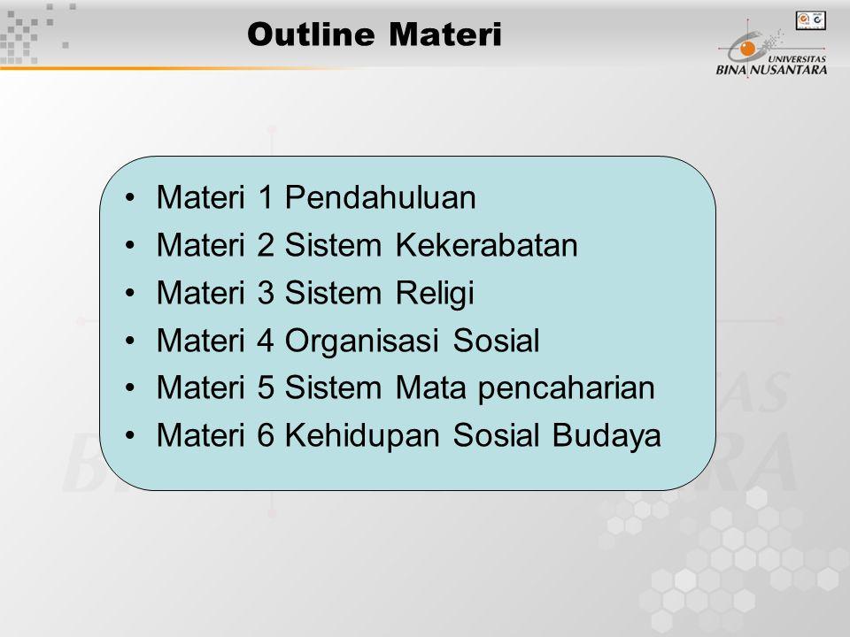 Outline Materi Materi 1 Pendahuluan. Materi 2 Sistem Kekerabatan. Materi 3 Sistem Religi. Materi 4 Organisasi Sosial.