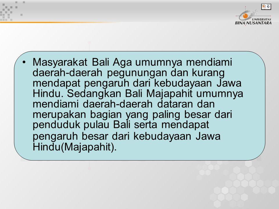 Masyarakat Bali Aga umumnya mendiami daerah-daerah pegunungan dan kurang mendapat pengaruh dari kebudayaan Jawa Hindu.