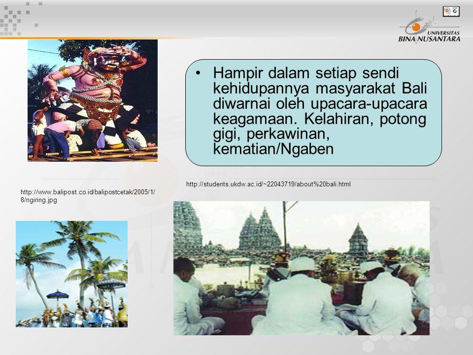 Hampir dalam setiap sendi kehidupannya masyarakat Bali diwarnai oleh upacara-upacara keagamaan. Kelahiran, potong gigi, perkawinan, kematian/Ngaben