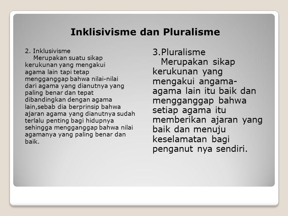 Inklisivisme dan Pluralisme