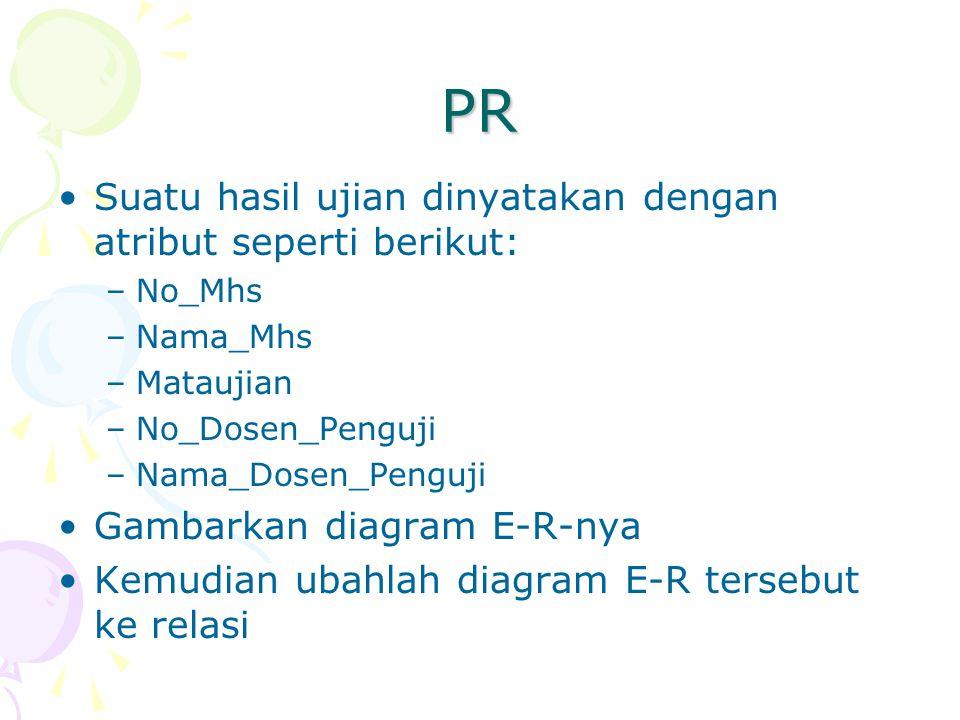 PR Suatu hasil ujian dinyatakan dengan atribut seperti berikut: