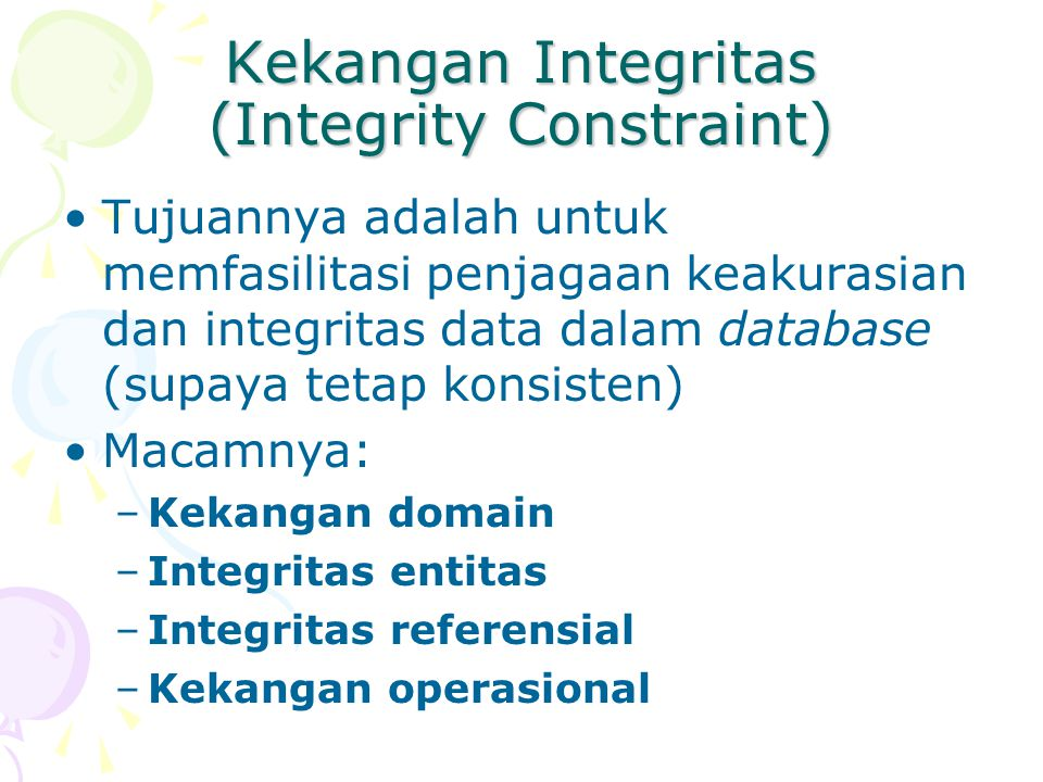Kekangan Integritas (Integrity Constraint)