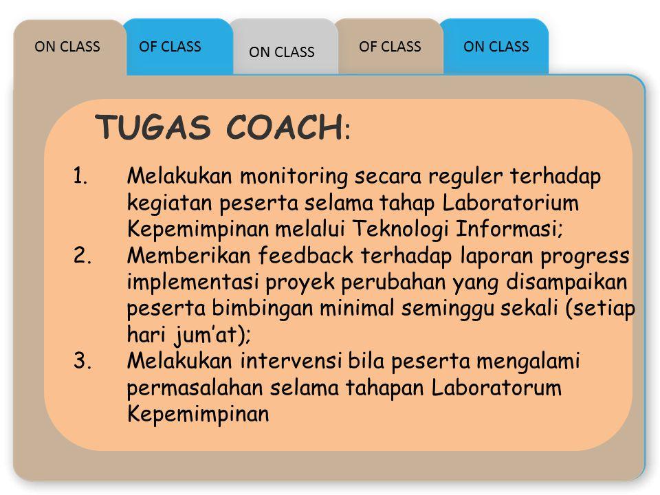 ON CLASS OF CLASS. OF CLASS. ON CLASS. ON CLASS. TUGAS COACH: