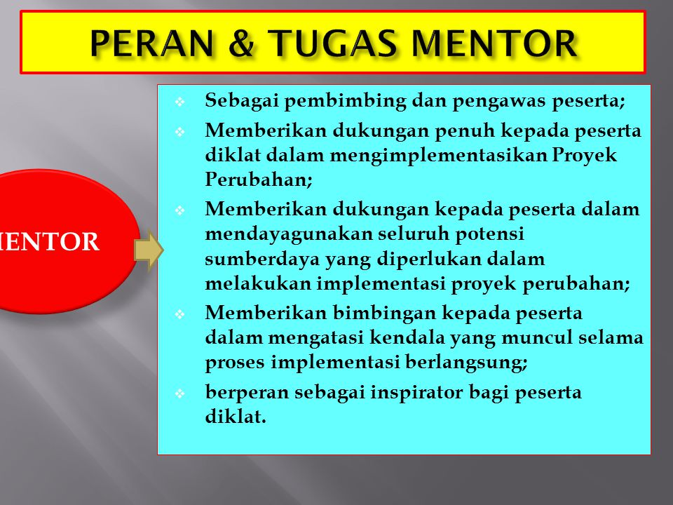 PERAN & TUGAS MENTOR MENTOR Sebagai pembimbing dan pengawas peserta;