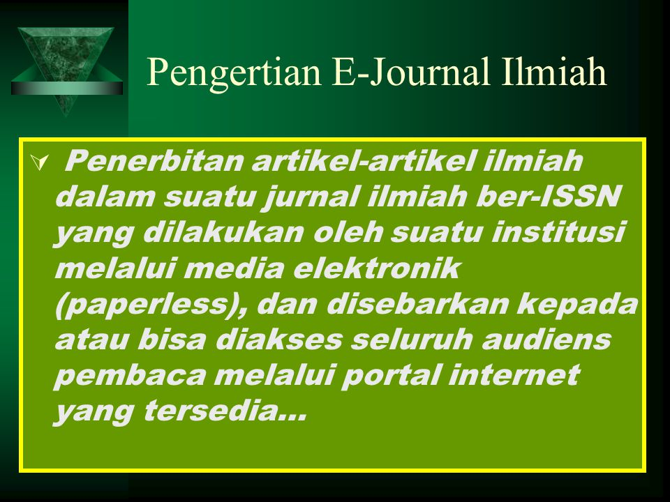 Pengertian E-Journal Ilmiah