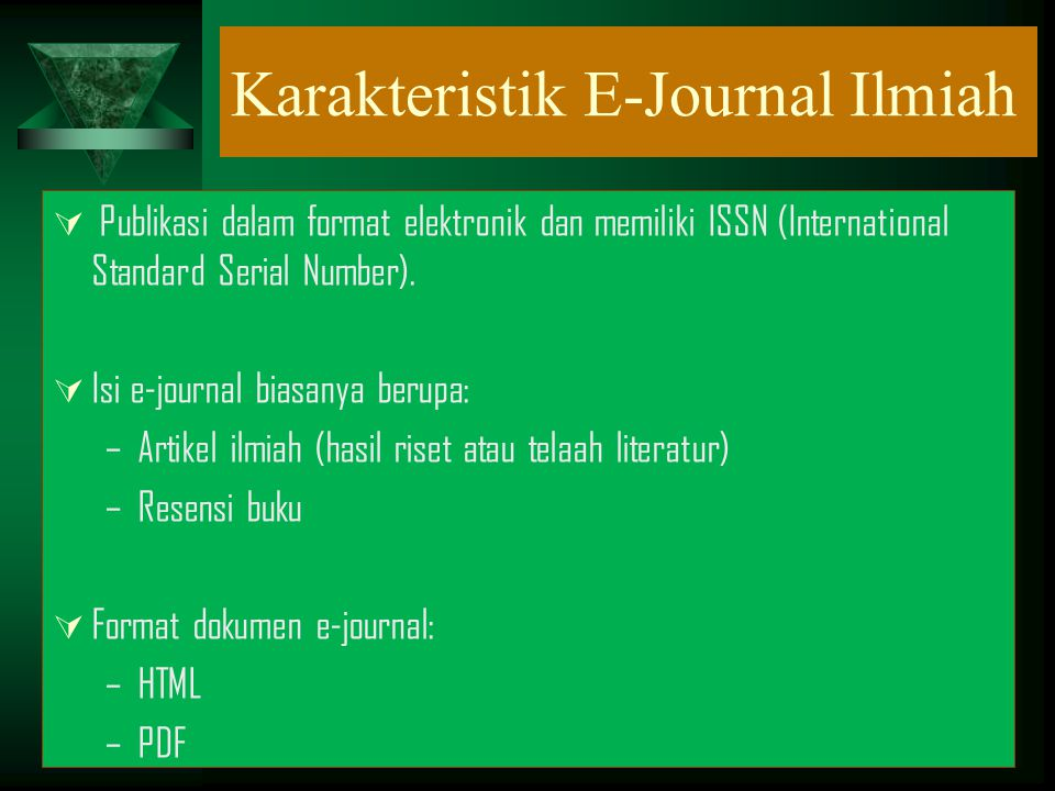 Karakteristik E-Journal Ilmiah