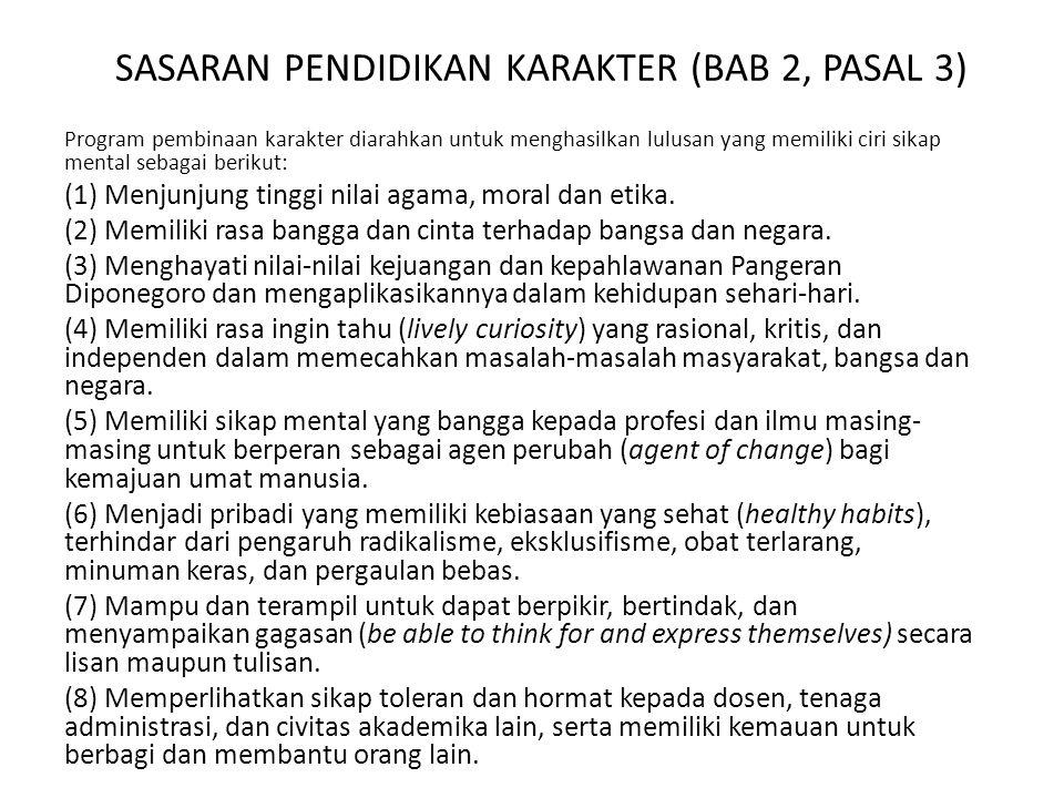 SASARAN PENDIDIKAN KARAKTER (BAB 2, PASAL 3)