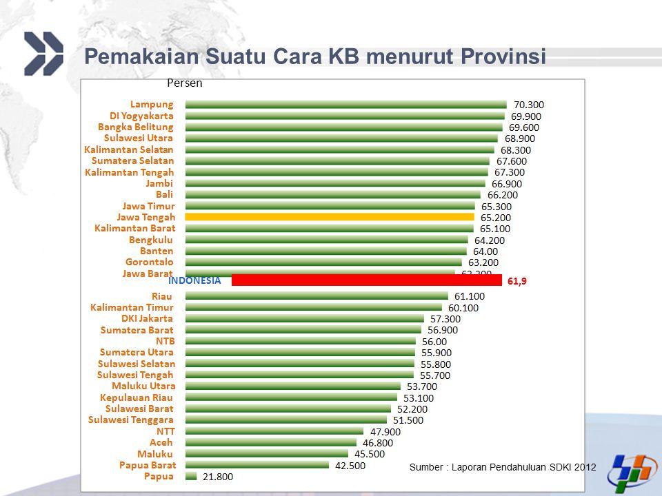 Pemakaian Suatu Cara KB menurut Provinsi