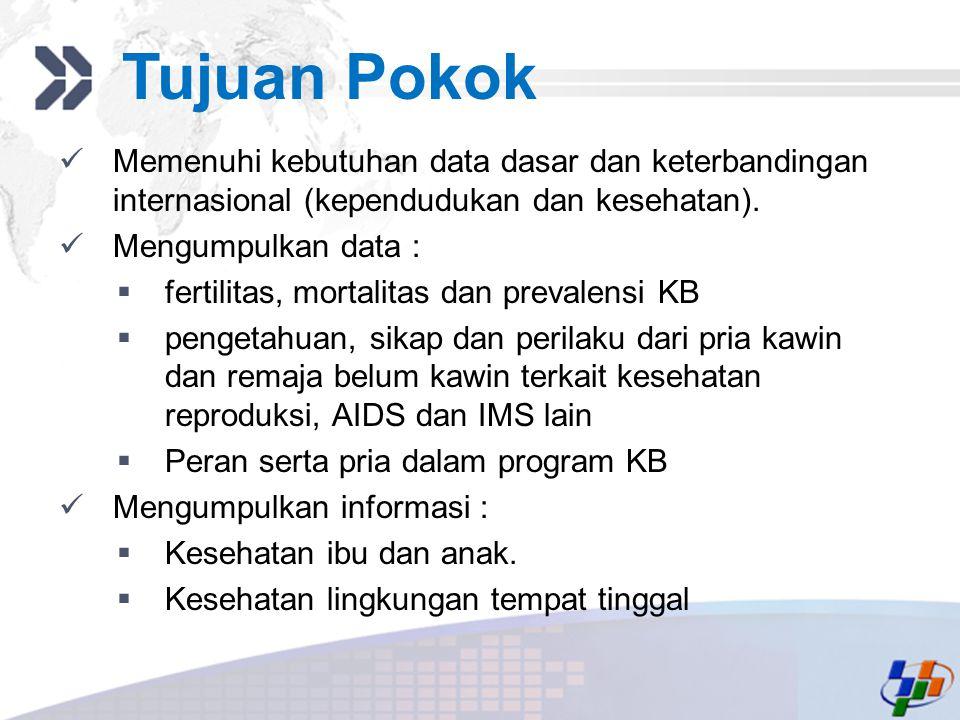 Tujuan Pokok Memenuhi kebutuhan data dasar dan keterbandingan internasional (kependudukan dan kesehatan).